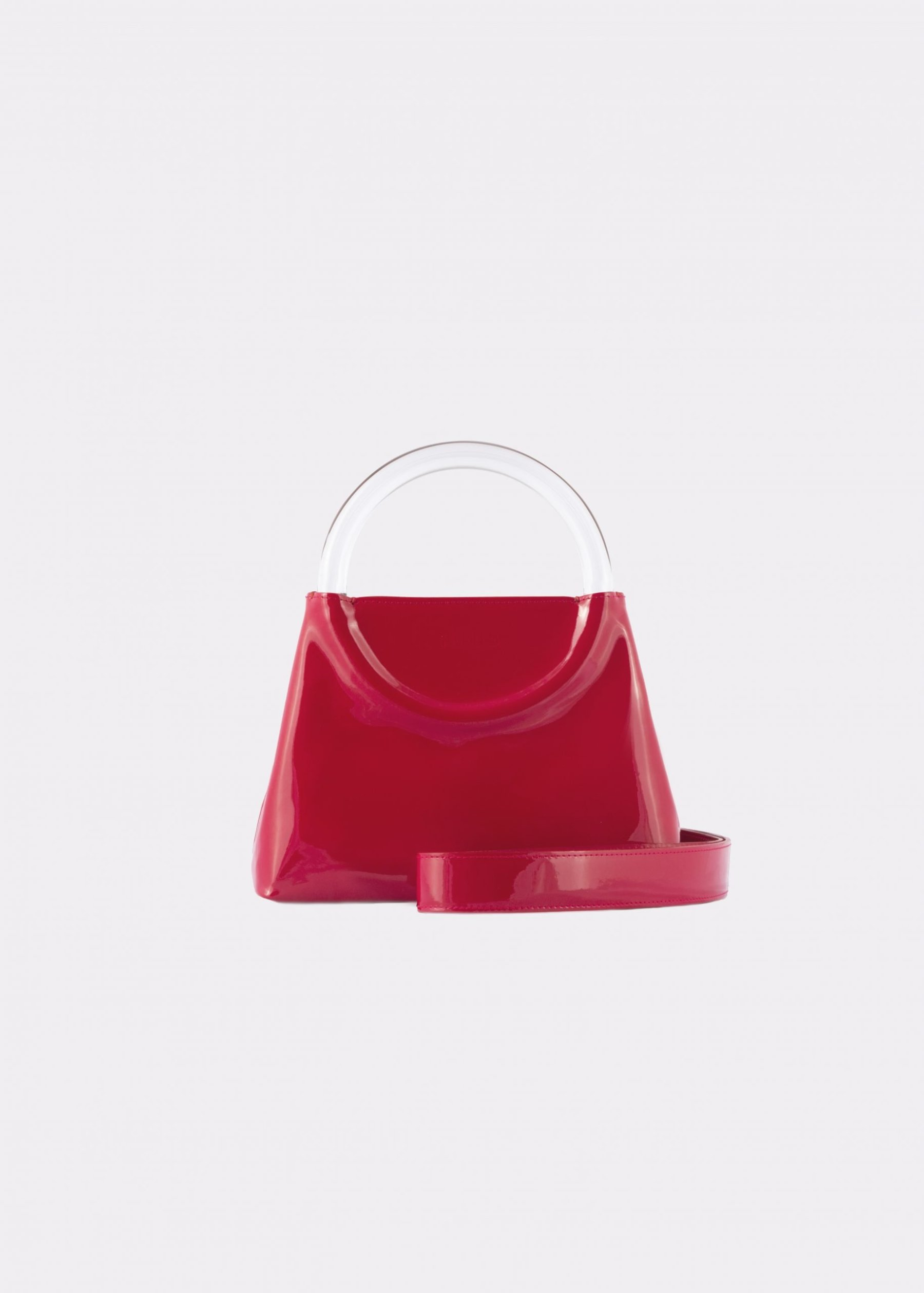 NIDO Bolla Mini Cherry Red patent leather-Plexy_shoulder strap view