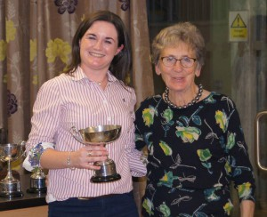 Cheryl being presented with the Cull Challenge Cup by Joan Keogh