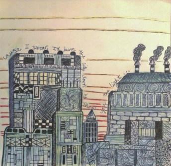 A sketch: Ink, colored pencil. 2013