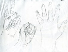 Hands drawn in contour lines for figure drawing at CCAD's College PreView. 2013