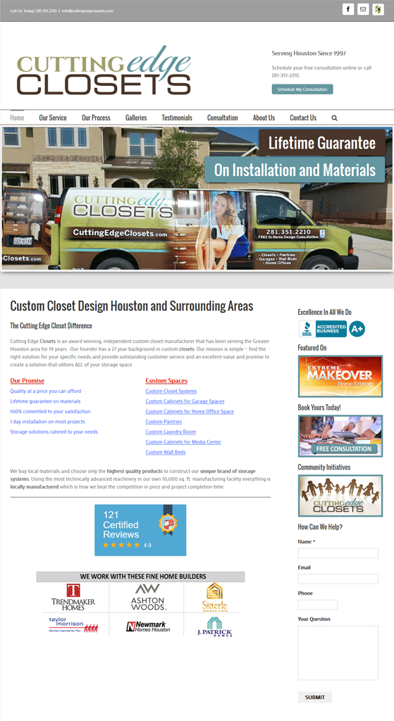 Cutting Edge Closets Web Design