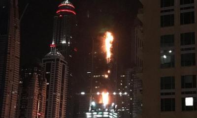 Dubai tower in fire