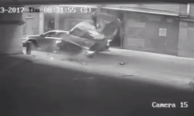 Car falling off garage in Austin, Texas.