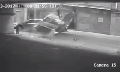 Car falling off garage in Austin, Texas.