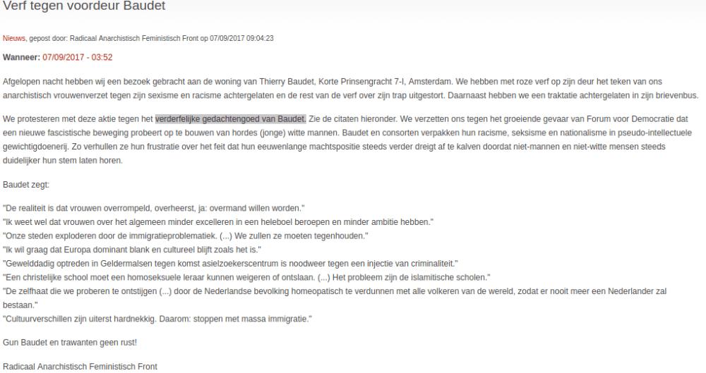 Bericht op Indymedia gericht tegen Thierry Baudet