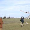 vliegtuig met bladblazer