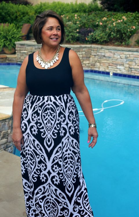 transition to fall black and white ikat maxi dress