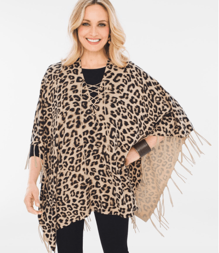 Fringe Poncho in Cheetah
