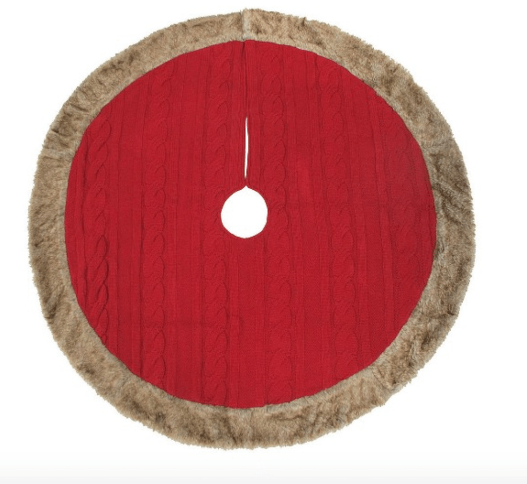 Holiday Tree Skirt with Faux Fur