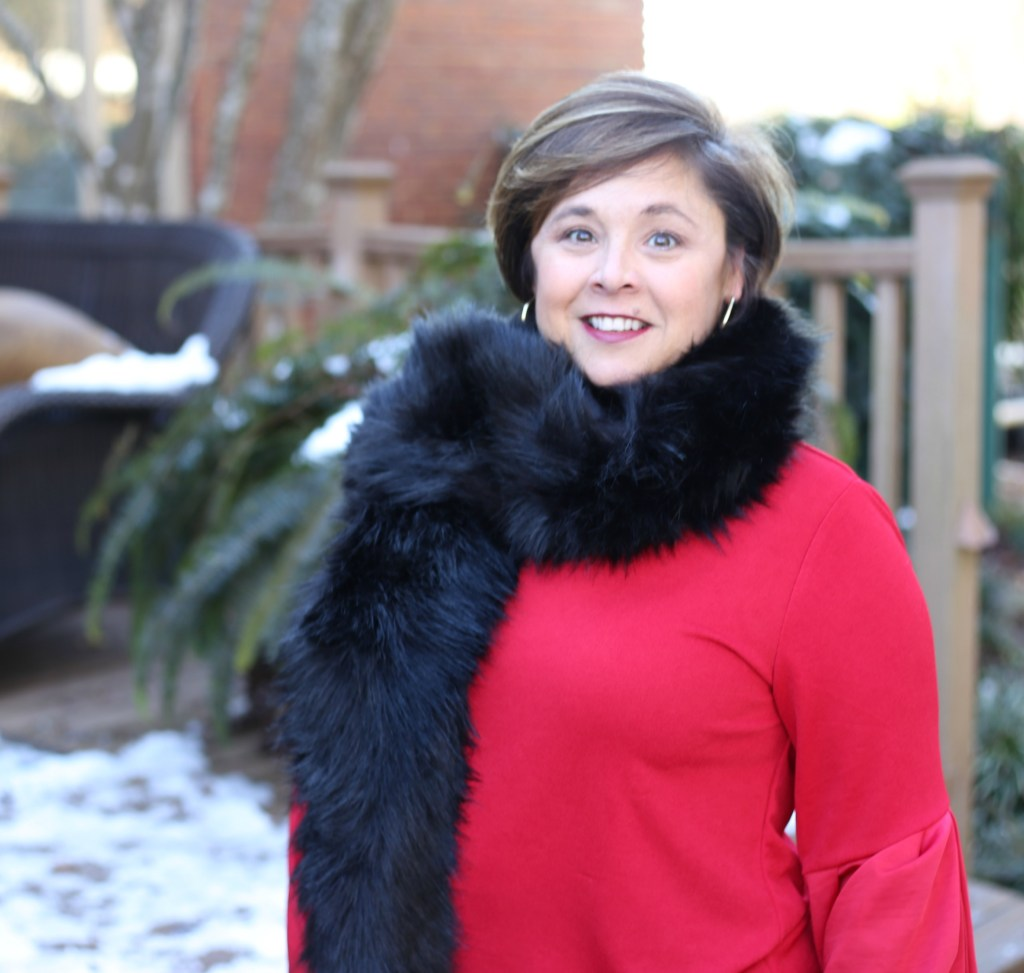 Lady in Red and Faux Fur