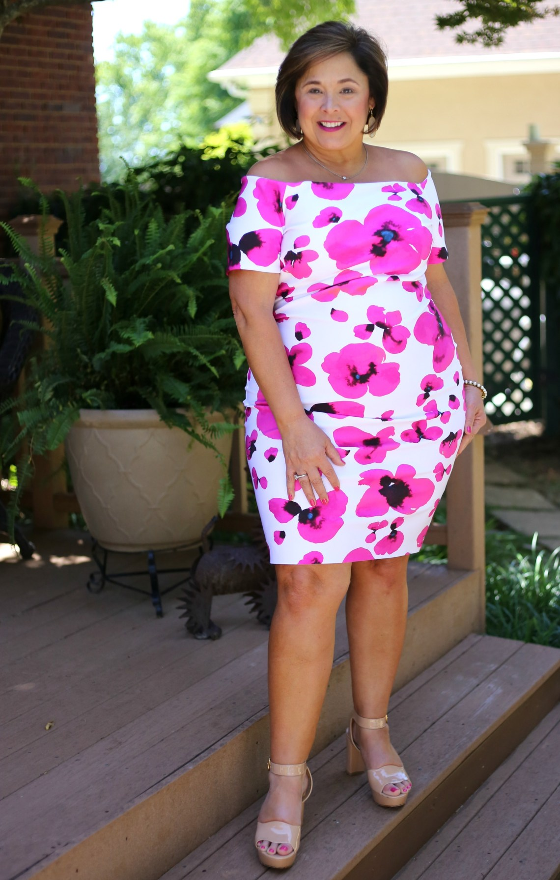 Graphic Floral Dress For Bridal Tea
