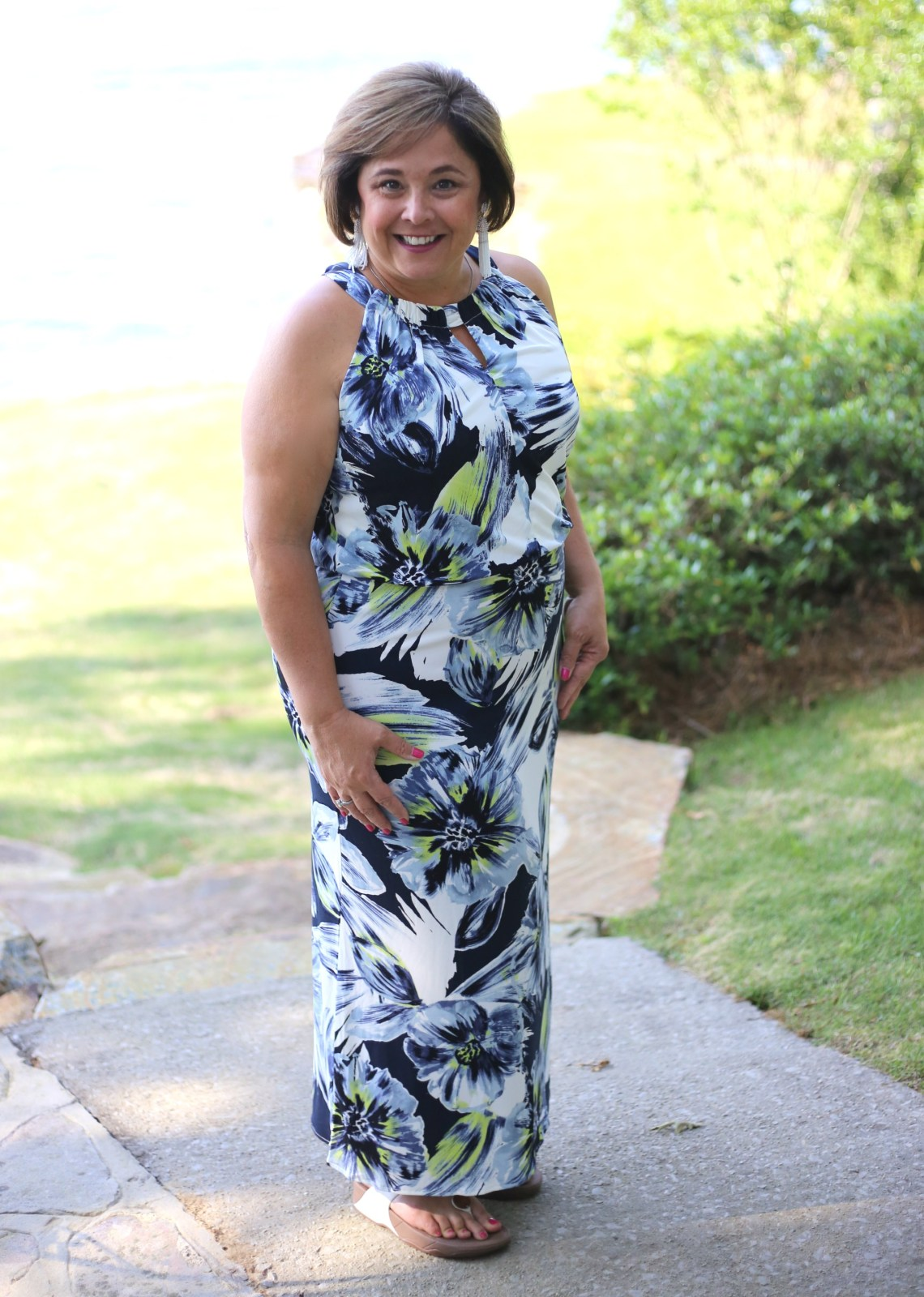 Chico's Floral Maxi for Poolside Casual Dinner