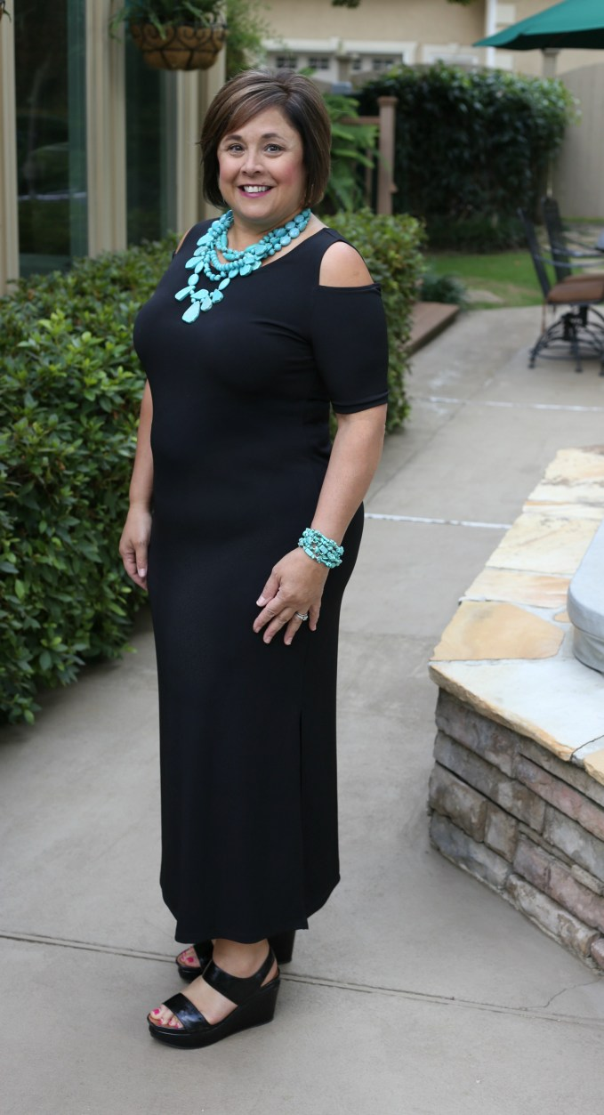 What To Wear For Night At The Theater-Black maxi dress, turquoise jewelry and platform sandals