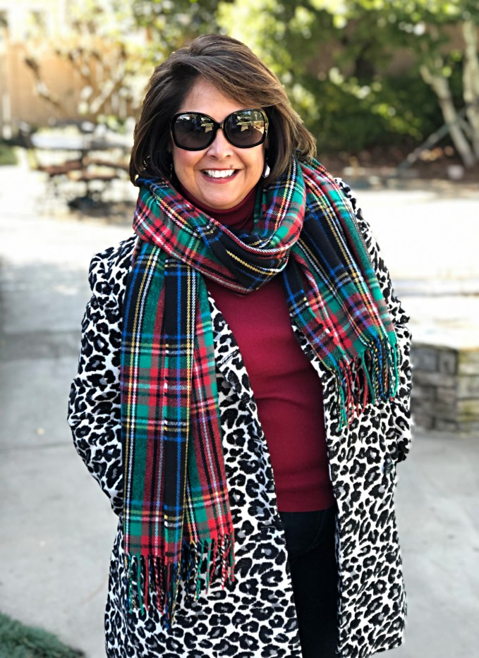 Leopard coat plaid scarf