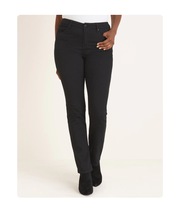 Black jeans are slimming and flattering for pear-shaped women
