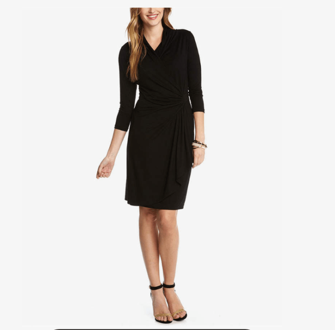 Perfect Wardrobe Basic Little Black Dress is the faux wrap 3/4 length dress.