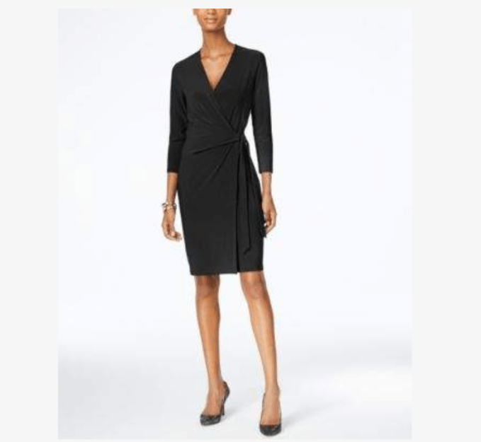 Faux wrap dress can be dressed up or down according to the occasion