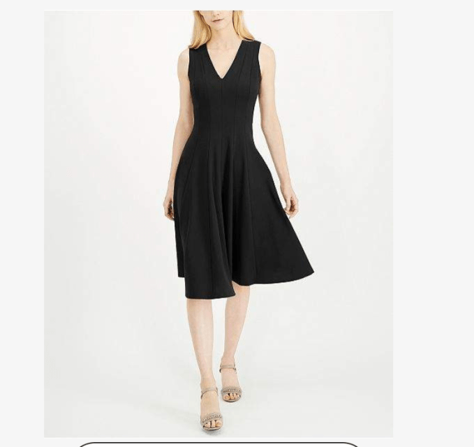 This fit and flare with v neckline is very flattering and would be a great wardrobe basic- little black dress