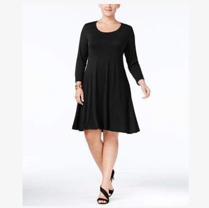 Wardrobe Basics- Little Black Dress For Plus Size Women Over 50 .Swing style dress is perfect choice for apple body types