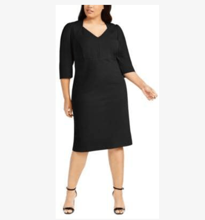 With attention up, this styleis a perfect little black dress for pear shaped women