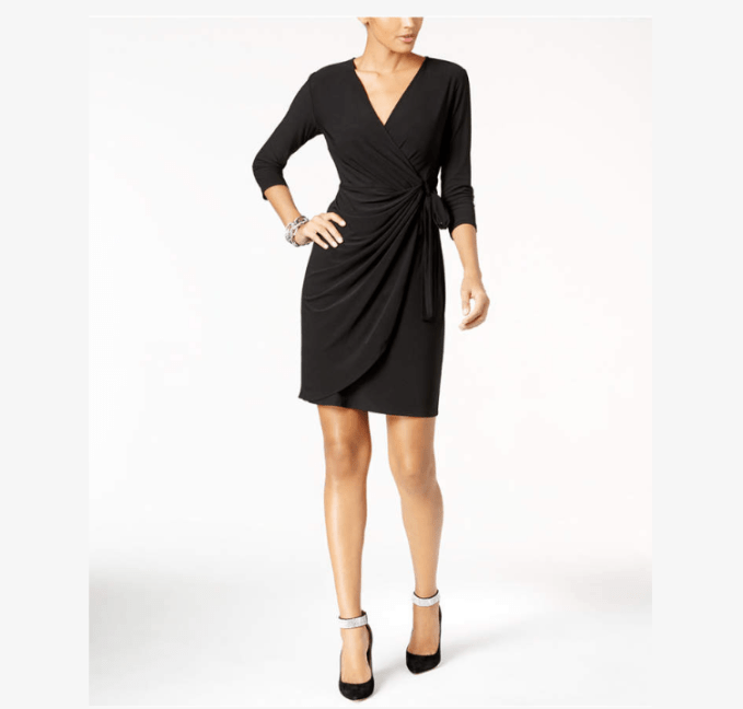 Wardrobe Basic- Little Black Dress. Even petite women have unique body types- This wrap dress is great for slimming