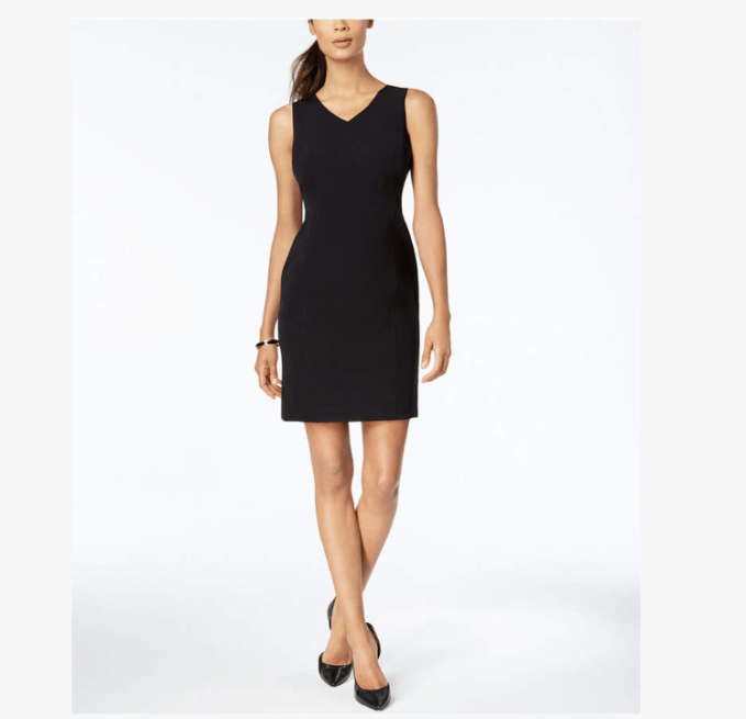 This dress with v neck and in sheath style would be a favorite for women who work in professional setting