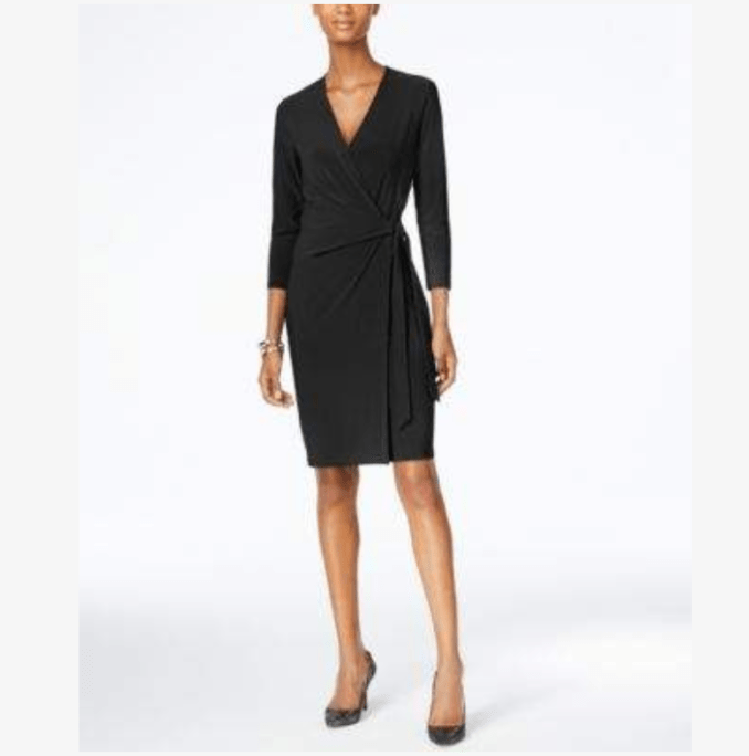 My little back dress is the Faux-Wrap Dress from Anne Klein.  It ties at the waist and has a v neck with top ruching.  You will need to wear Spanx underneath because the fabric will show your underwear lines.