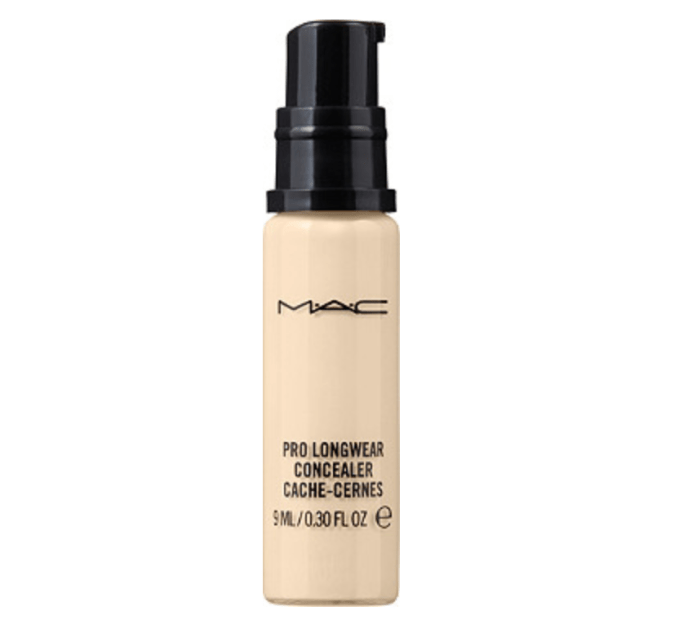 MAC Pro Longwear Concealer in a shade one step below your foundation color.  This is a lightweight concealer. A little bit goes a long way.