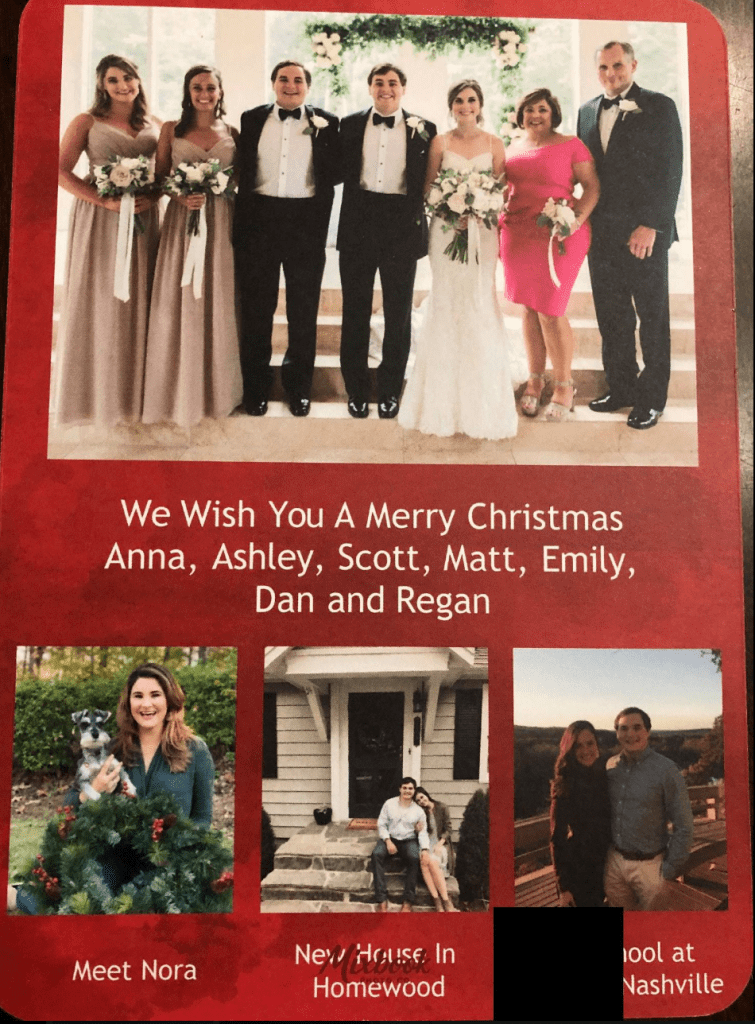 "Use the back of the card as a ""where are they now"" update for family and friends"