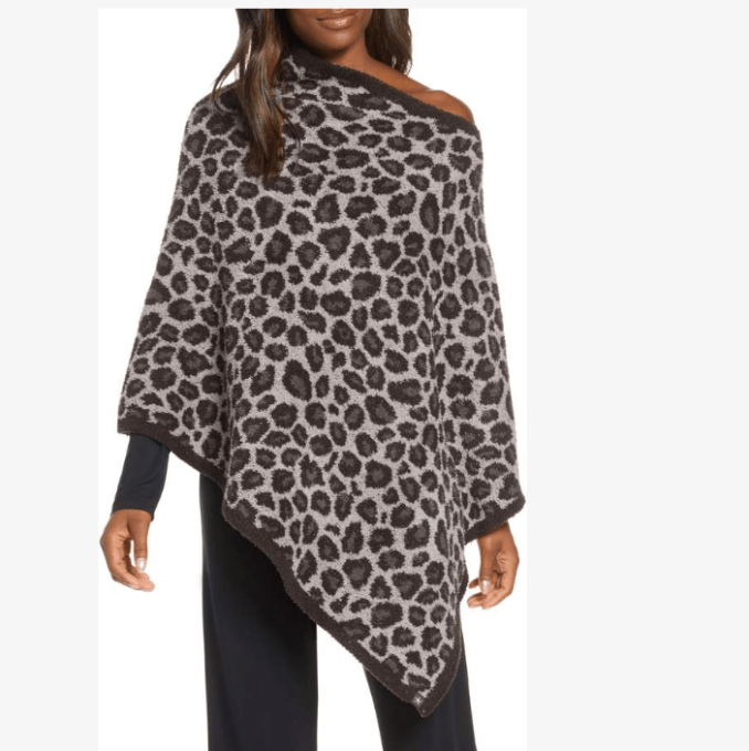 "Did someone say ""poncho""? I may have to add this one to my list.  Leopard print Barefoot Dreams Cozy Chic Poncho comes in 2 colors.  It is like wearing the throw blanket all the time."