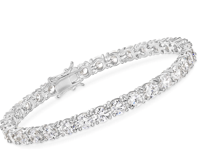Ross-Simons also has a great tennis bracelet.  Perfect for everyday use or special occasions.  The trend now is to layer bracelets.  Ross-Simons 15.00-17.00 ct. t.w. CZ Tennis Bracelet in Sterling Silver comes in 2 lengths (7 inches & 8 inches)