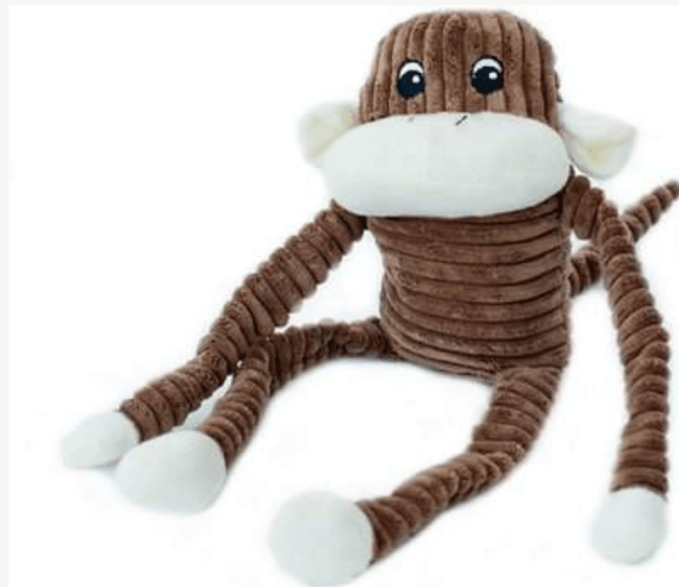 Gracie chose as her favorite toy, Zippy Paws Crinkle Monkey for both fetch and tug.