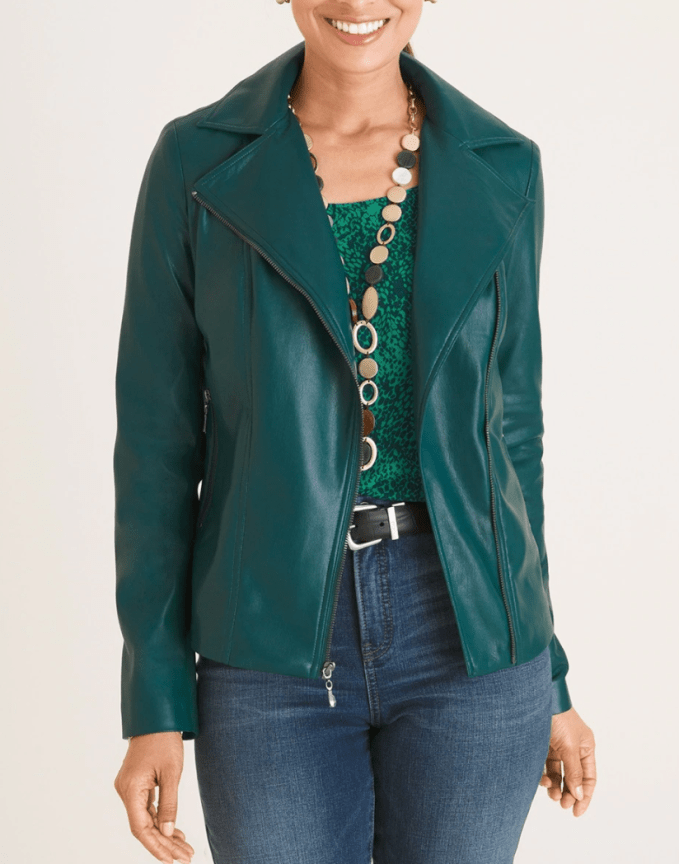 Cropped Moto Style Jacket from Chicos is a great addition to a wardrobe to add attention up and out. This jacket comes in regular and petite sizing and cream and black colors.