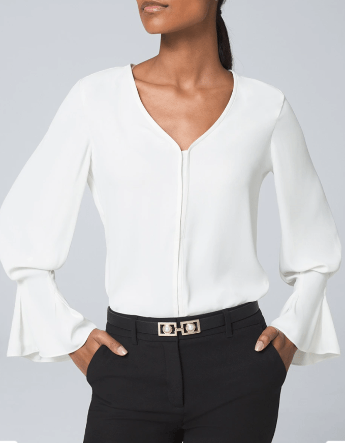 Even details on cuffs can bring attention to your waist and hip