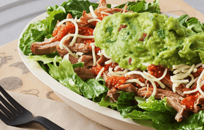 Eating Out On Keto Diet- Ask for Keto Bowl at Chipotle-Romaine lettuce, carnitas, hot salsa, cheese and guacamole.