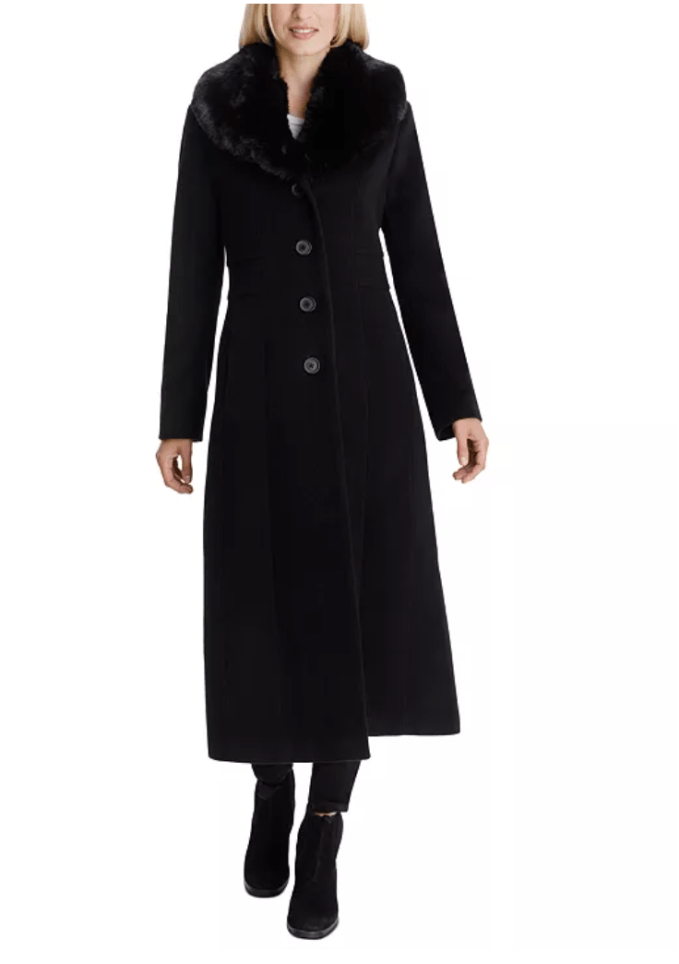 Another great event coat is the Anne Klein Faux Fur Shawl Collar Maxi Coat