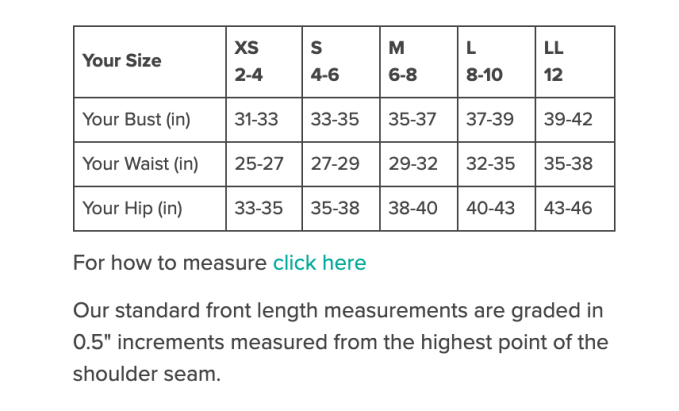 Know your measurements before you shop! Every outfit has a measurement guide to help you make the best decision before you buy.  Fewer returns!