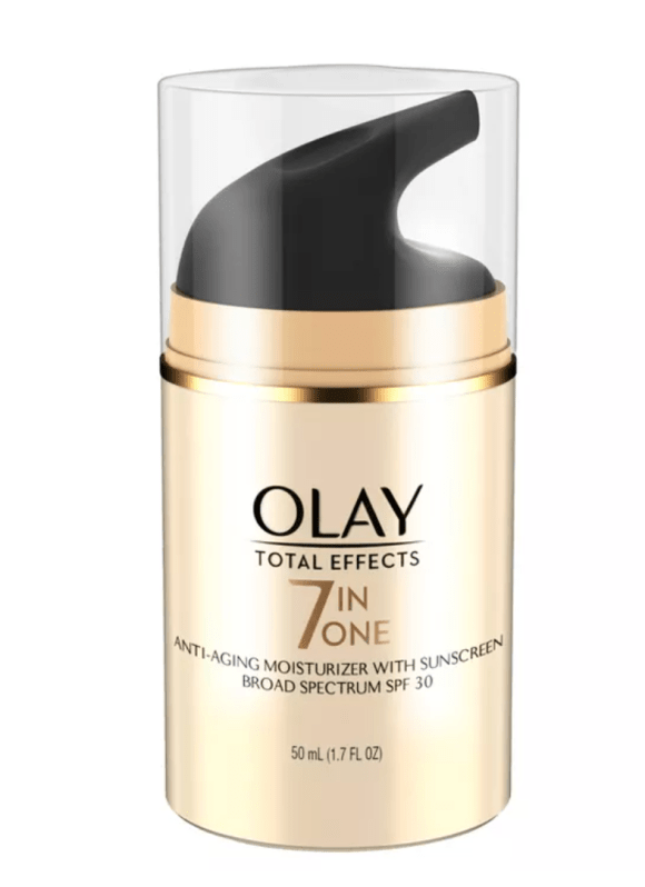 For daytime during the winter months, I use Oil Of Olay 7 in One Total Effects With SPF 30