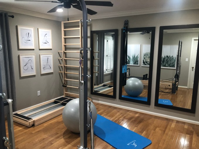 Pilates is a great way to stretch the entire body. I have created my own home gym dedicated to Pilates.
