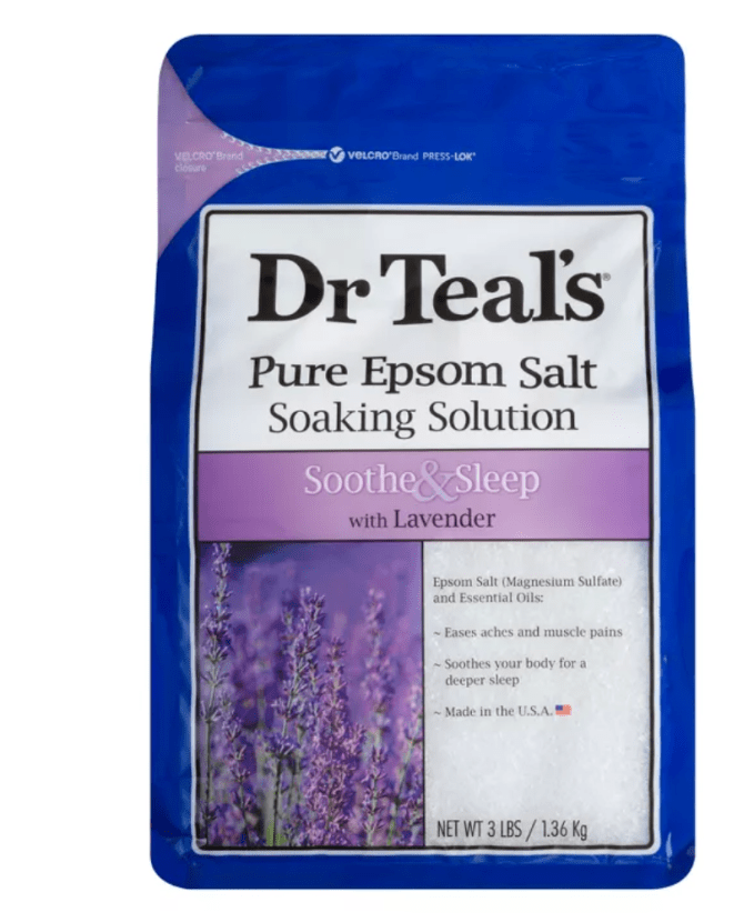 Treat yourself to a hot bath with Dr. Teal's Epsom Salts to help replace loss magnesium