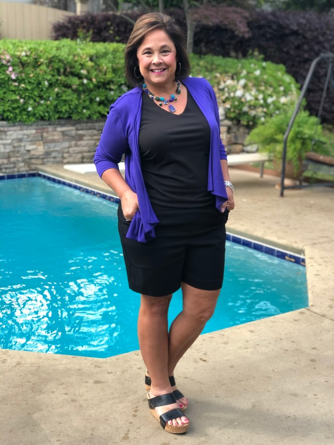 Creating a dressy casual outfit from shorts.  Wedge style sandals levels up an outfit