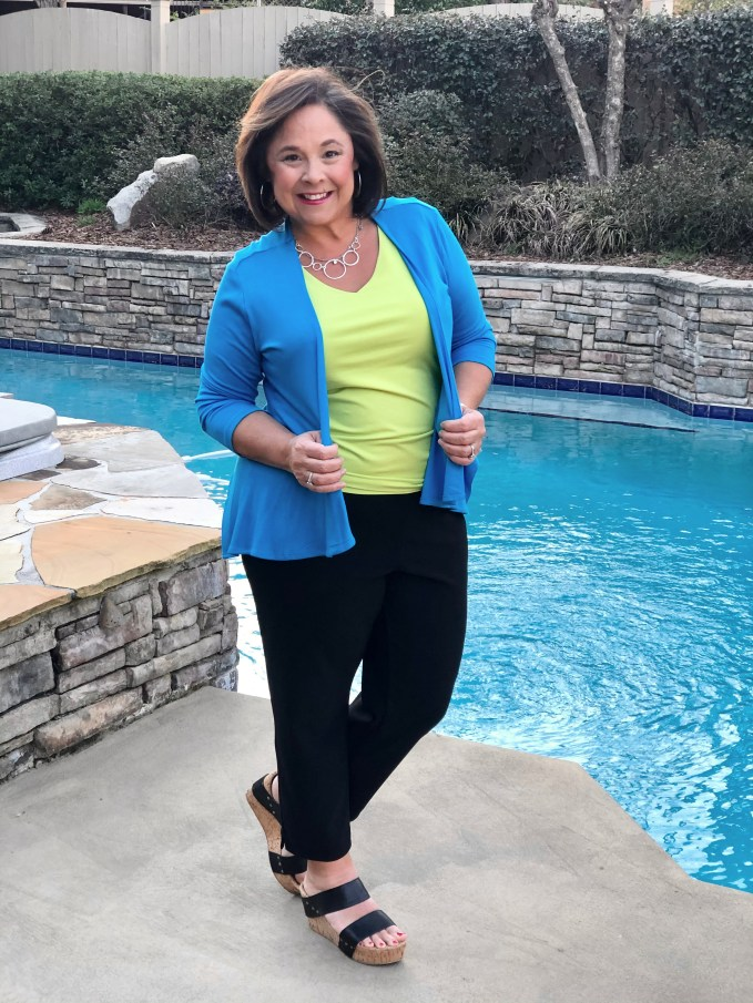 Colorful Outfits For Spring- Choosing pieces that work with my Petite Pear Body Type- Dark on bottom, bright bold on top