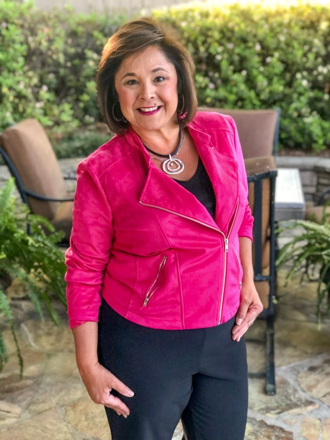 Colorful Outfits For Spring- For those cooler days I purchased a faux suede jacket in Pink Raspberry from Kettlewell Colours