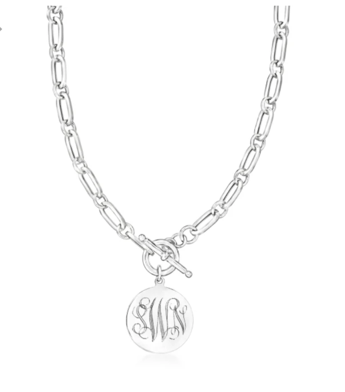 Ross Simon Personalized Silver Italian Paper Link Toggle Necklace great for everyday wear
