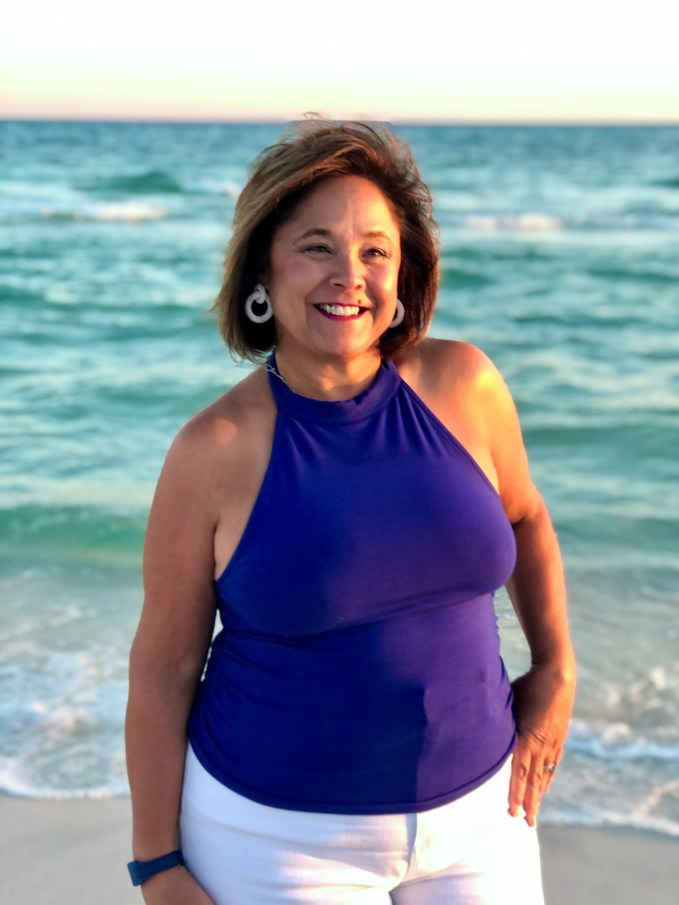 A staple in for vacation fashion is a halter top. Colorful and comfortable top is perfect for beach style