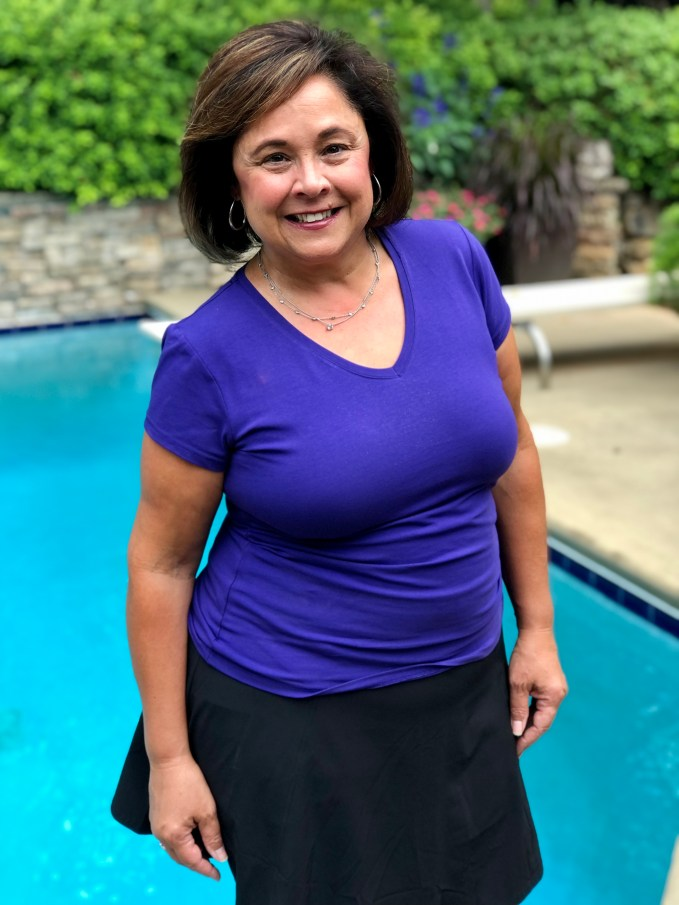 Purple Cotton V Neck Tee And Athleta Skort make a comfortable and casual look for running errands