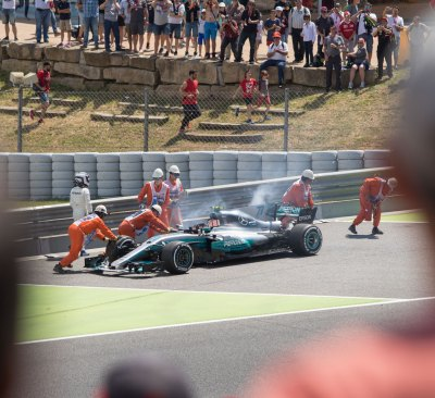 Bottas, Mercedes car on fire