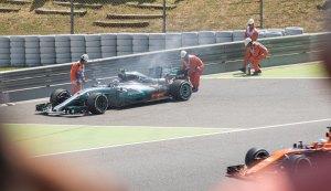 Bottas, Mercedes car on fire