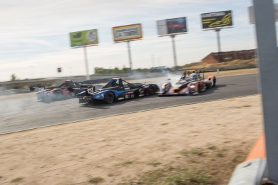 A collision under braking into a turn results in fire and the ruin of a teams race. V de V Endurance Series, Proto endurance race, Sunday 3rd September 2017, Circuito del Jarama, Madrid.