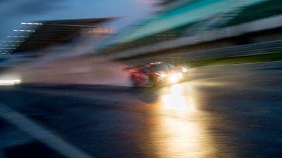 Ferrari F458 at night in the rain